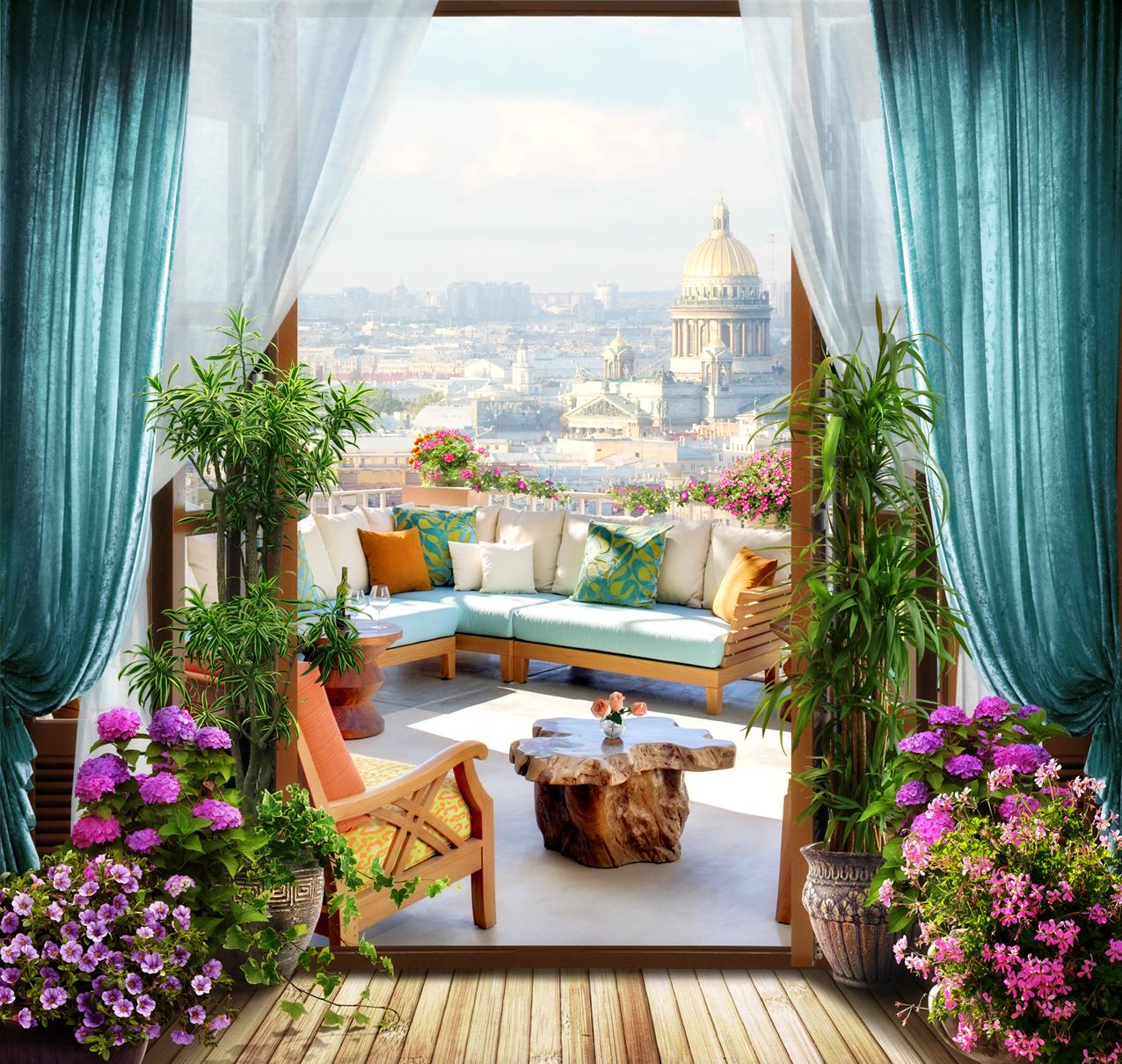 """Фреска артхауз #4482 """"балкон с прекрасным видом"""" в калуге, ц."""
