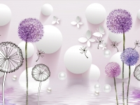 3d illustration, light background, white balls, pearls, multi-colored dandelions, white paper butterflies, reflection in water