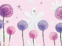 3d illustration, soft pink background, white paper flowers, colorful dandelions
